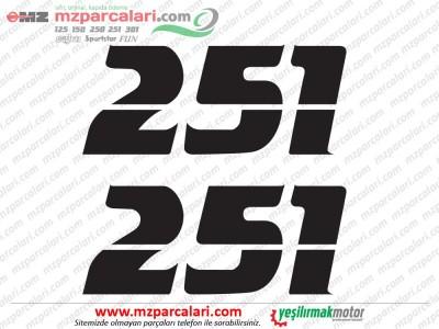 MZ 251 Etiket, Yan Kapak 251 Yazısı Takımı