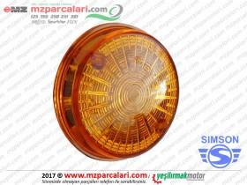 Simson Arka Sinyal Camı, Yuvarlak, Sarı - ORJİNAL - S51, S53, SD50, SR50, SR80