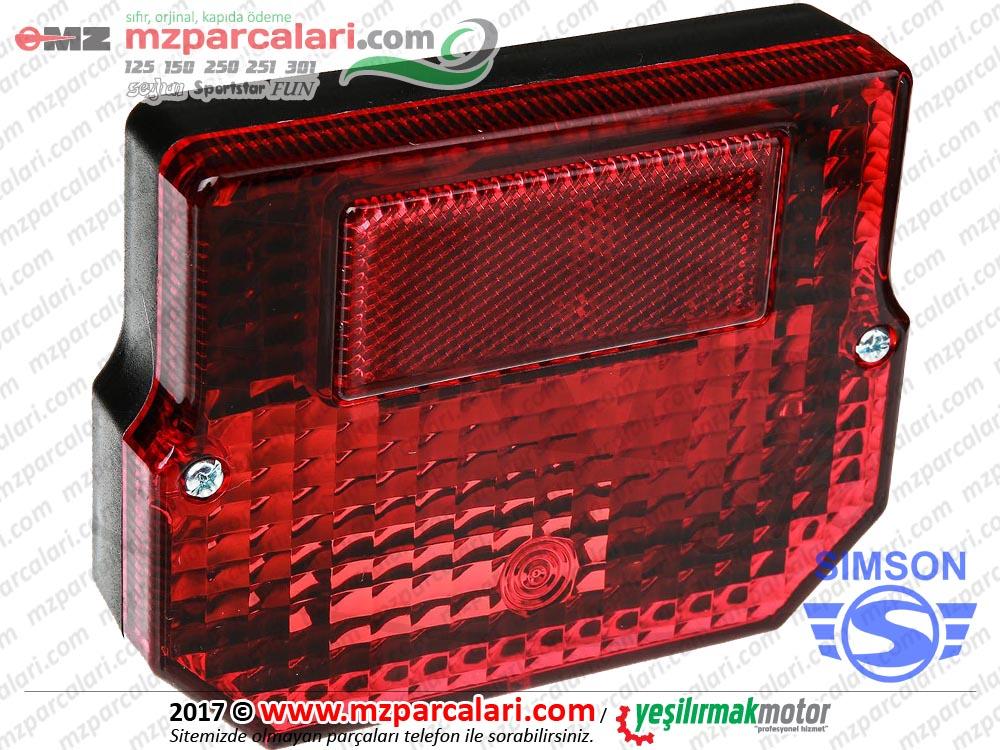 Simson Arka Stop Lambası Komple, Kare, Avrupa Malı - SD50, SR50, SR80