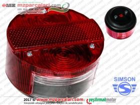Simson Arka Stop Lambası Komple, Yuvarlak - S51