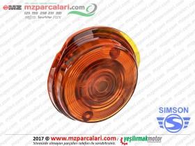 Simson Ön Sinyal Camı, Yuvarlak, Sarı - ORJİNAL - S51, S53, SD50, SR50, SR80